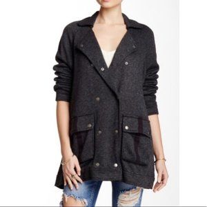 Free People Grey Linen Blend Slouchy Fit Pea Coat